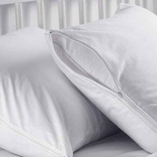 2 white hypoallergenic pillow case zippered bug covers
