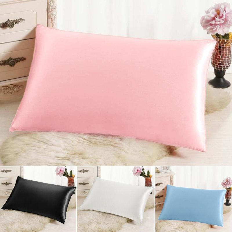 2pc New Queen/Standard Silk~y Satin Soft Pillow Case Multipl