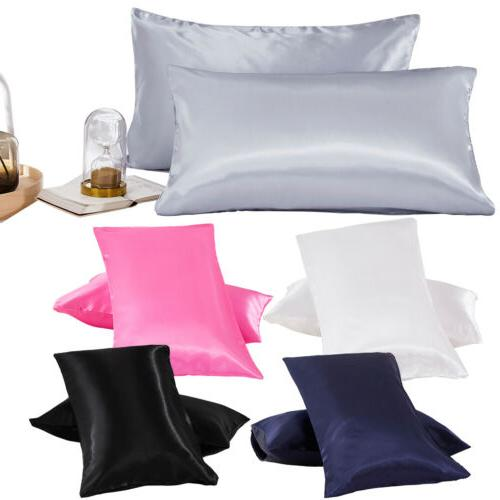 solid standard queen king satin silk pillowcase
