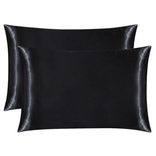 2Pcs Queen Satin Silk Pillowcase Case