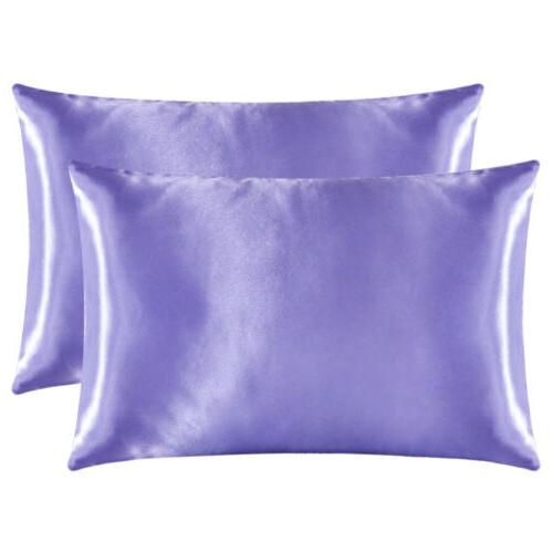 2Pcs Queen Satin Silk Case Home