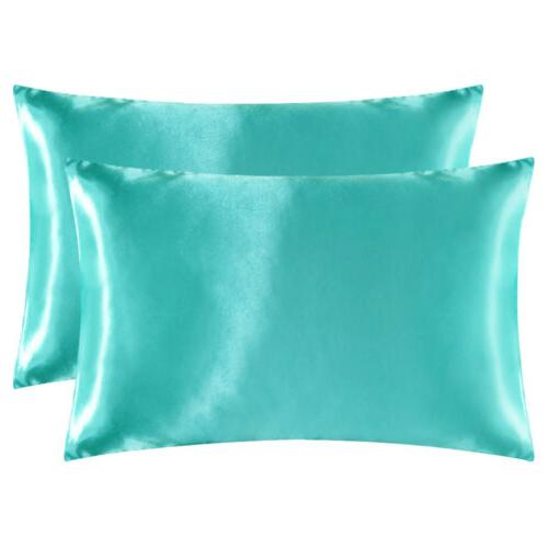 2Pcs Satin Silk Pillowcase Case Bedding