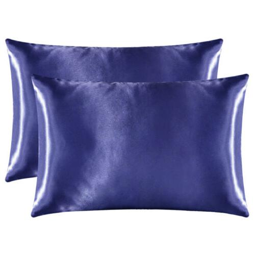 2Pcs Satin Silk Case Cover Bedding