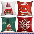 2X Christmas Linen Pillow Case Xmas Cushion Cover Square 18