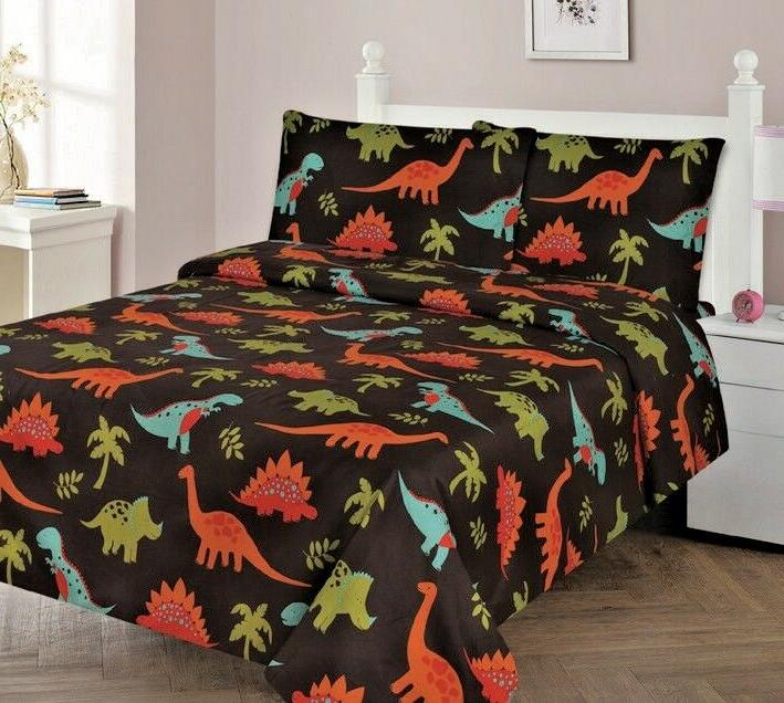 3/4 Piece Kids/Teens Fitted Flat SHEET Pillow Cases Set Dino