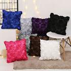 3D Rose Satin&Silk Pillow Case Sofa Waist Throw Cushion Cove