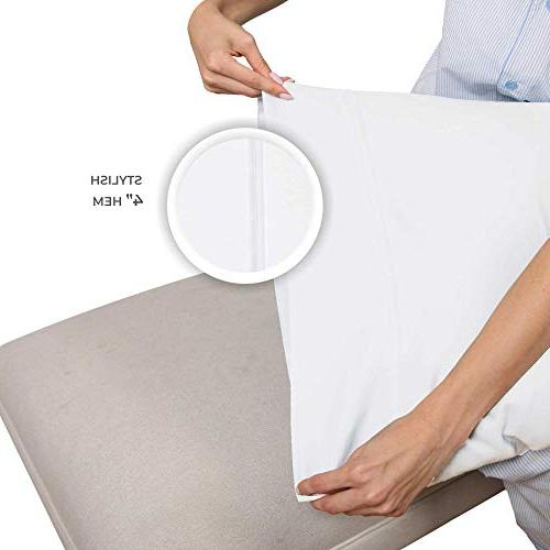 400 Cotton White Standard Pillowcase of Pure for Sleeping, Silky Pillow Covers