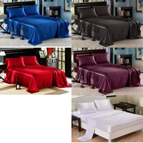 4Pcs Set Luxury Satin Sheets Full Size Soft Silk Feel Beddin