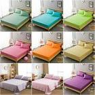 9 Solid Design 100% Cotton Fitted Sheet Protector Bed Sheet