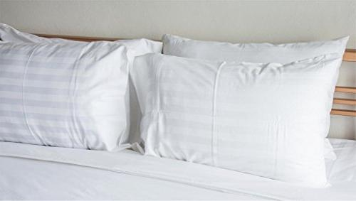 American Pillowcase Cotton Luxury Striped Thread Count Fitted with Guard