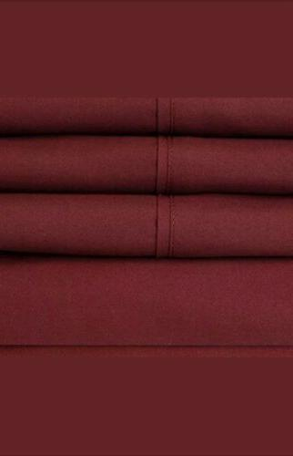 Sweet Home Collection Bed Sheet Solid 1500 Thread Burgundy