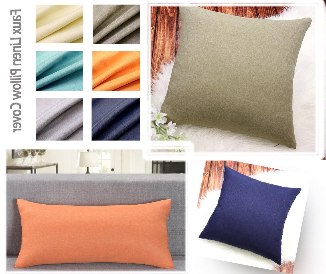 Aiking Home Breathable Solid Faux Linen Pillow Case for Sofa