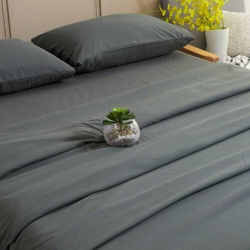 Bed Sheets & Cases Microfiber Complete 6pc GREY