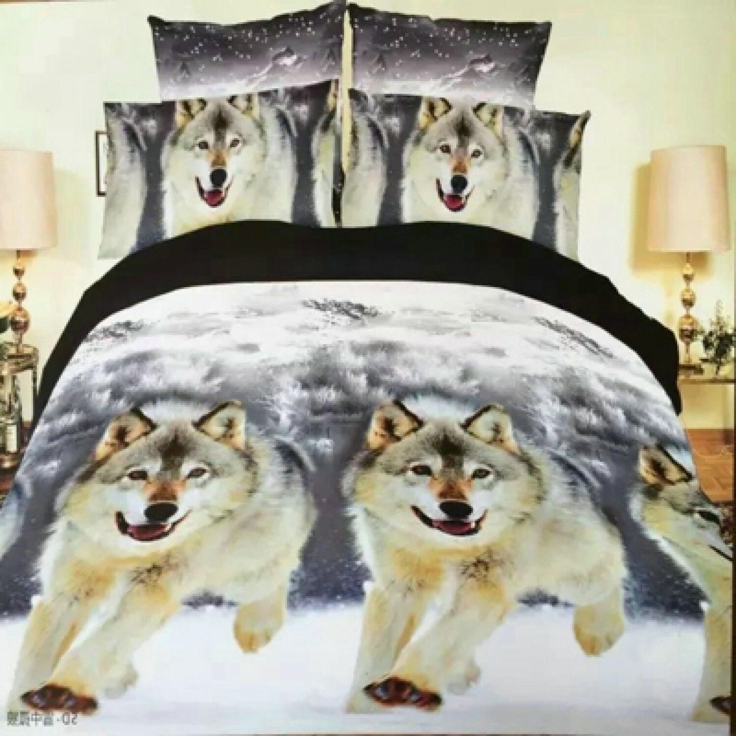 Bedding Set Of Bed Sheet Cover Pillow Cases Wolf Horse Desig