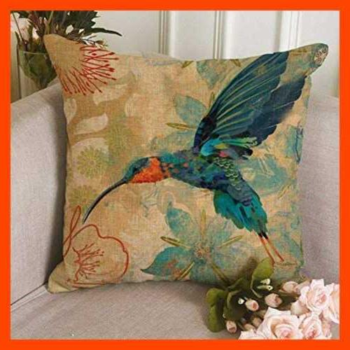 Bird Pillow BLUE TEAL AQUA RED 18 X