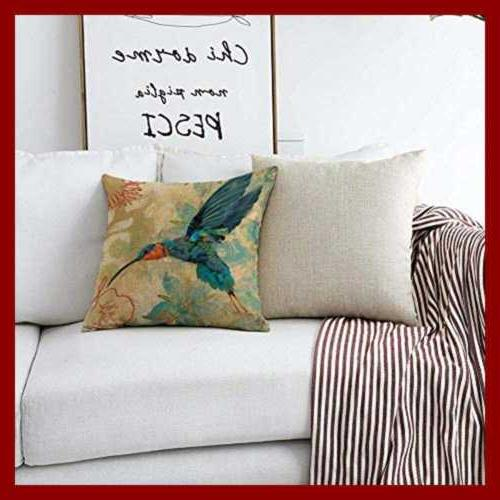 Bird Pillow Case BLUE Hummingbird AQUA RED Flow Color1 18