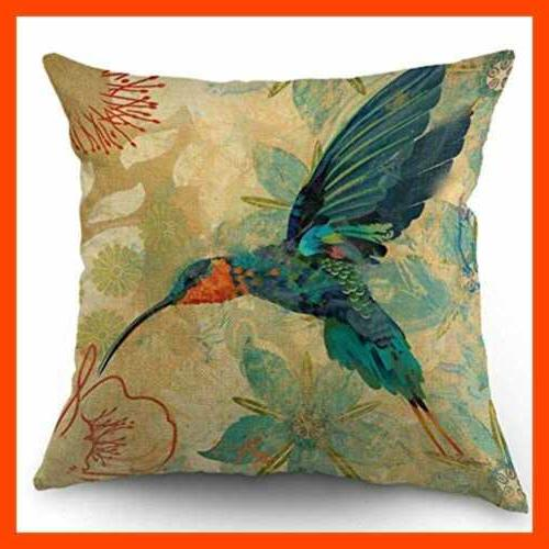 Bird Throw Pillow BLUE Hummingbird AQUA RED 18 X