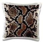 3dRose Brown Beige and Black Snake Skin-Pillow Case, 16 by 1