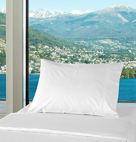 2 100% Cotton White Percale Pillowcases for Silk Camps, Physical