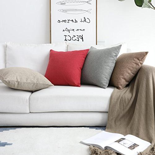 HOME Decoration Linen Square Cushion Pillow Case Sofa, Brown, 18""