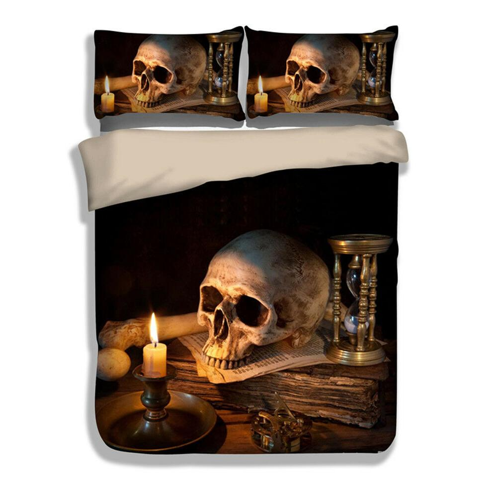Candle Skull Duvet Cover Quilt Cover Pillow Case Queen King