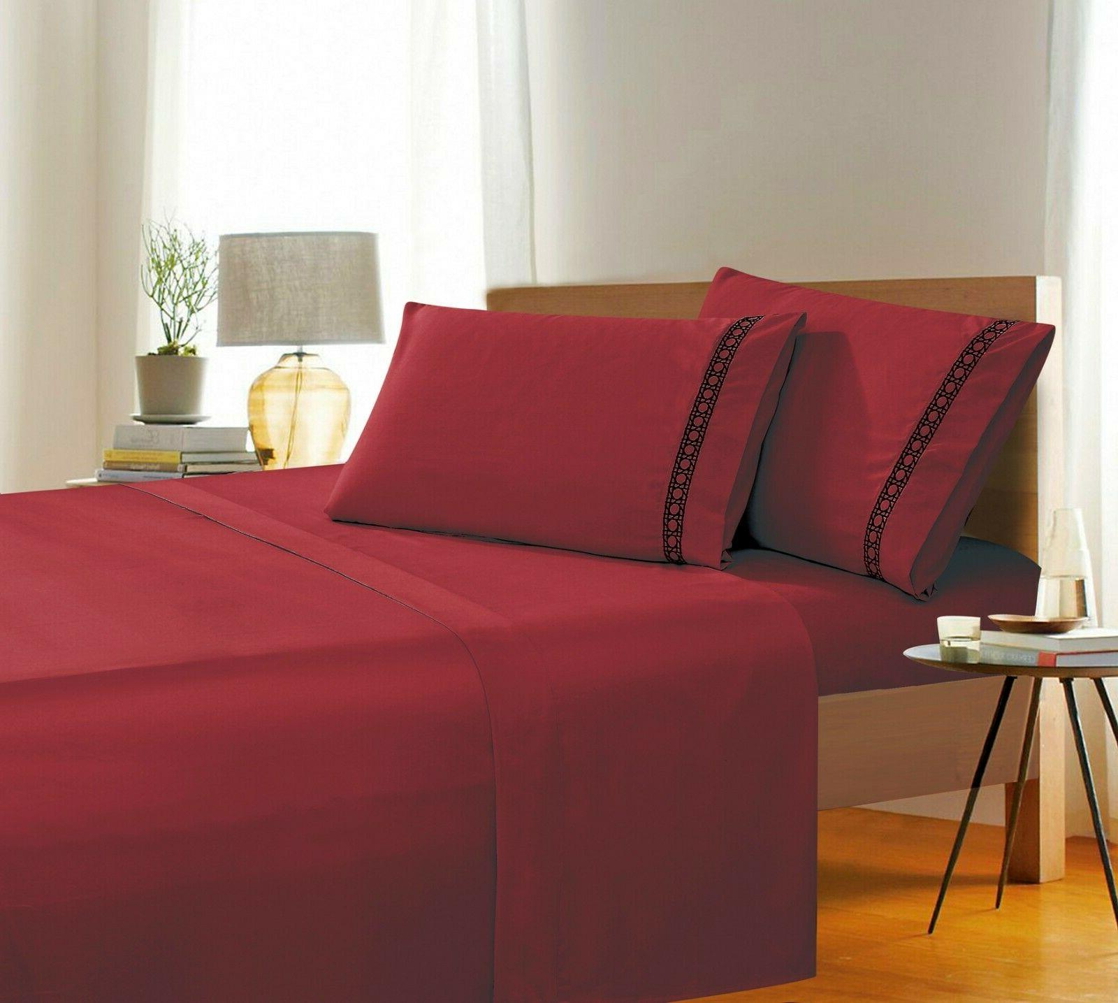 cane embroidered collection 4 piece bed sheet