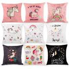 Cartoon Unicorn Pillow Case Print Sofa Cushion Cover Throw H