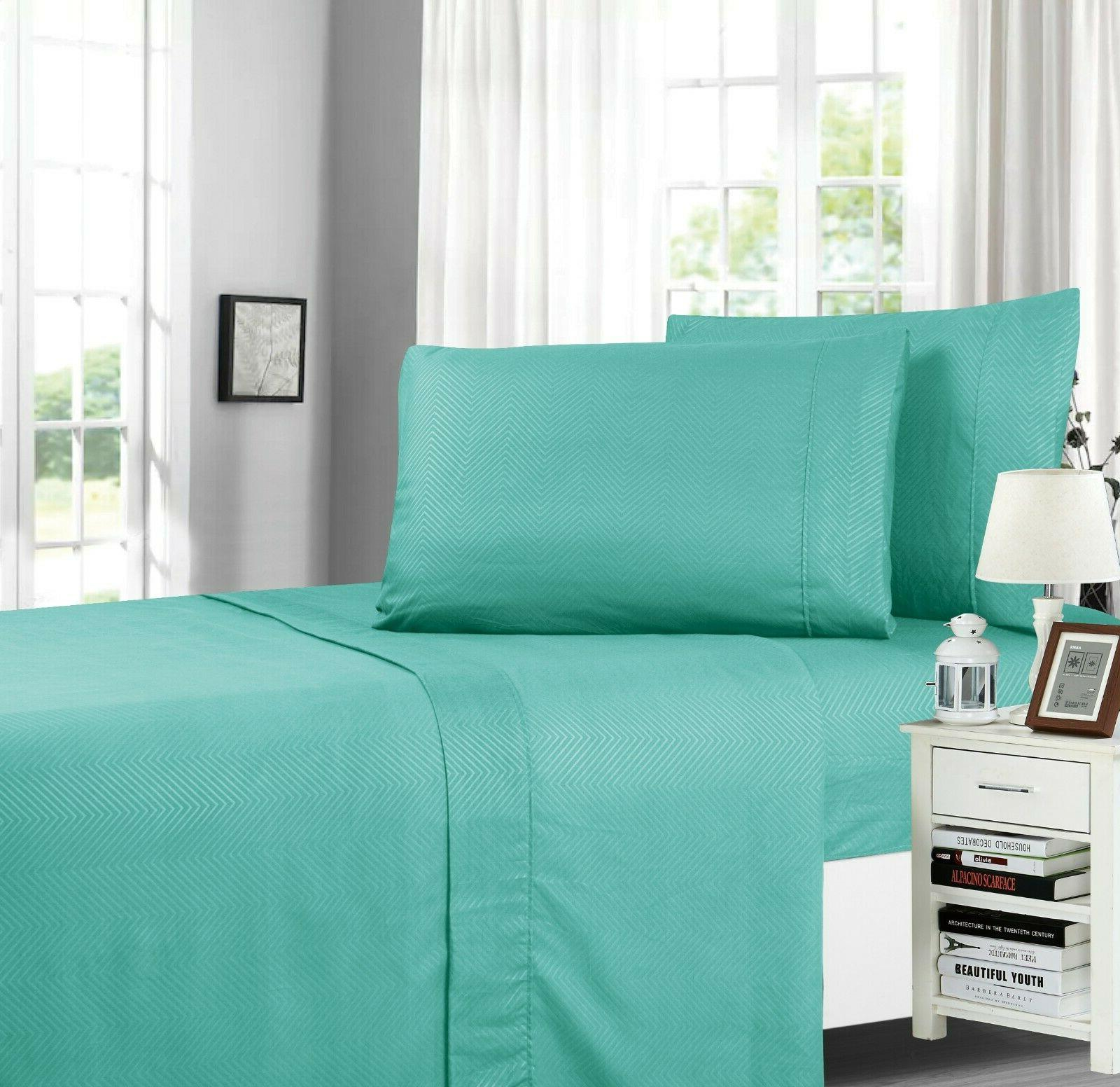 chevron embossed collection 4 piece bed sheet