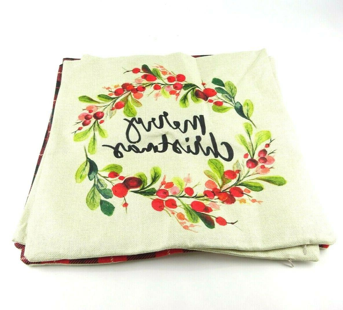 christmas pillow cases covers 18x18 set of
