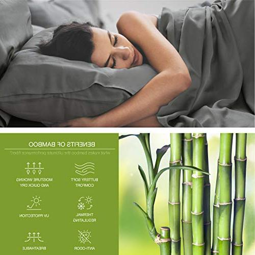 Bedsure Cooling Bamboo Pillowcases Set 2 Viscose Bamboo Breathable Silky Ultra Moisture Wicking