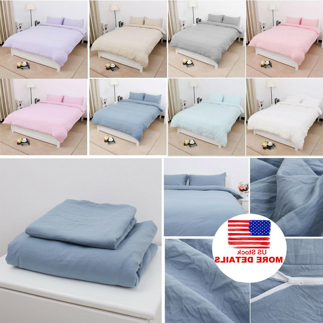 Cotton Duvet Cover Bedding Sets Pillowcases Twin/Double/Quee