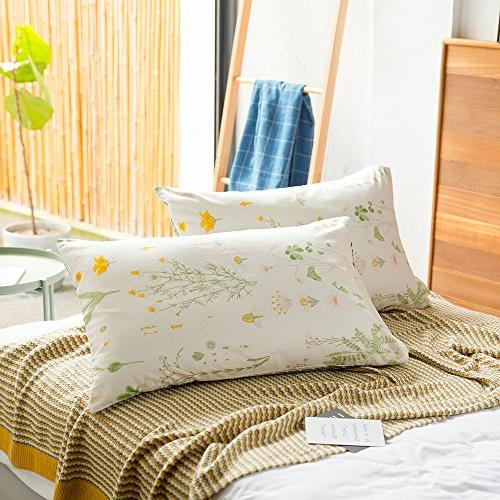 cotton floral print bed pillowcases