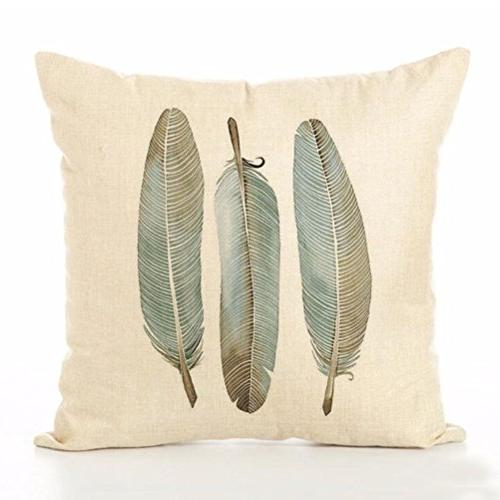 ULOVE Linen Feathers Print Square Cover 18 X Inch Pack