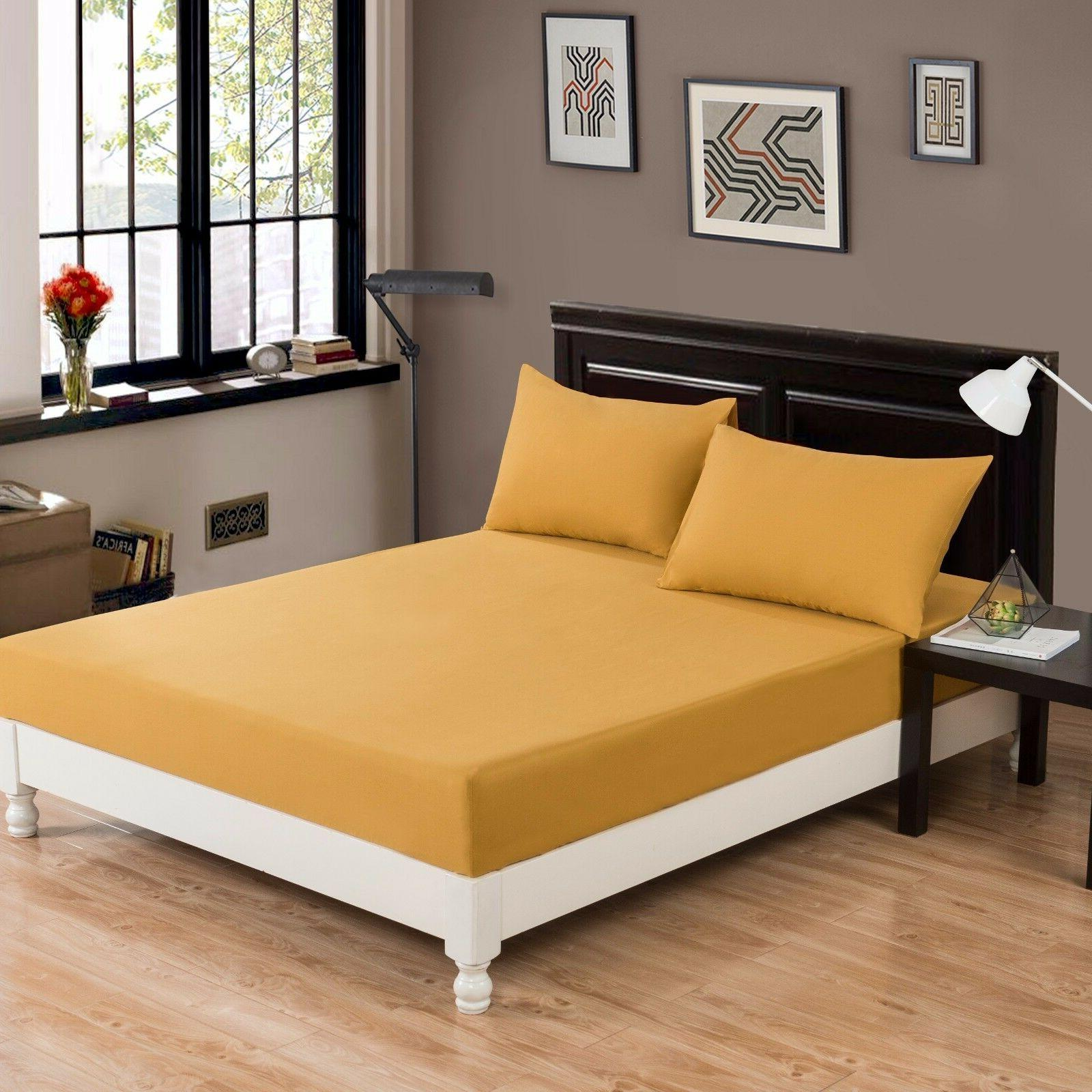 DaDa Bedding Mustard Yellow Soft 100% Cotton Fitted Sheet On