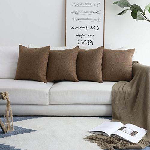 HOME Linen Square Throw Pillow Case Sofa, Brown,