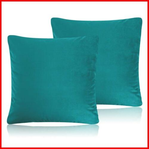 decorative pillow cases teal pack of 2