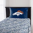 Denver Broncos Sheet Set NFL 3pc Flat Fitted Sheets Pillowca
