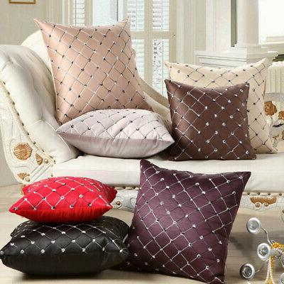 Embroidery Grid Cushion Throw Case Home Decor