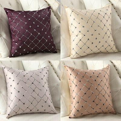 embroidery grid cushion cover throw pillow case