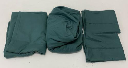 Amazonbasics Green Polyester Full Set Pillowcases/Fitted/F