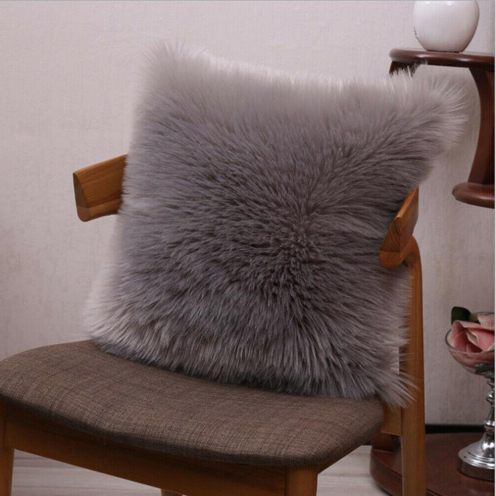 """Furry Throw Cover Cushion Case 18"""" Solid color"""