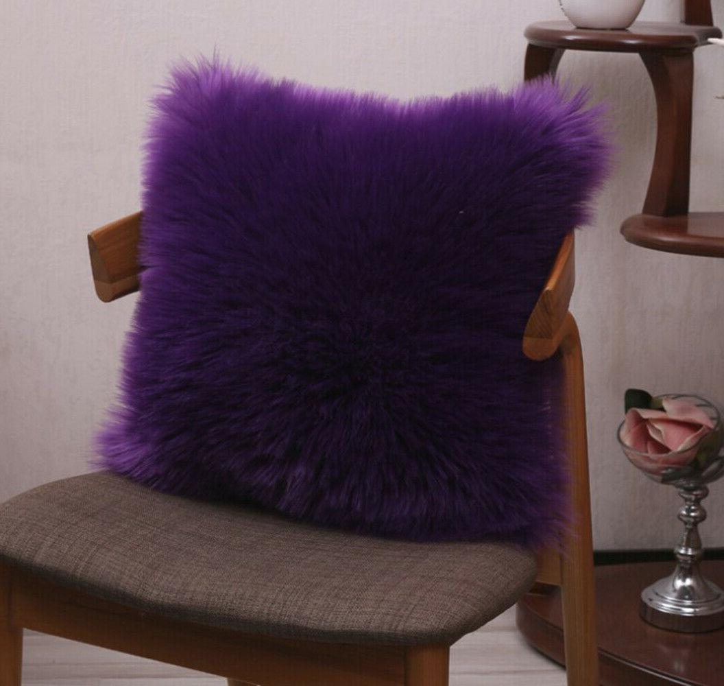 """Furry Cover Cushion 18"""" Solid color"""