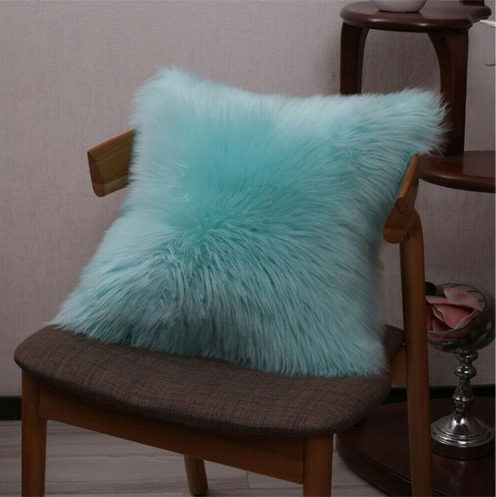 """Furry Throw Case Cover 18"""" 20"""" square Solid"""