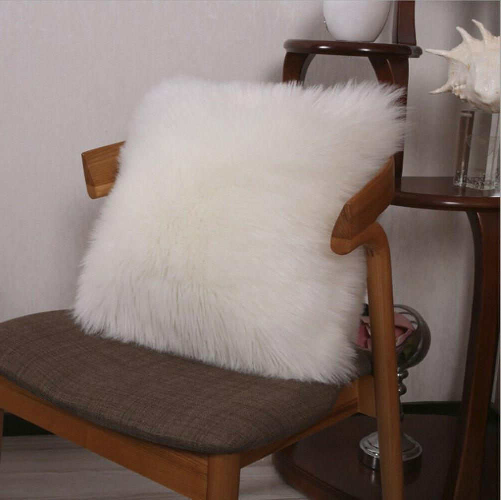 """Furry Pillow Cover Cushion 17"""", 18"""" Solid"""