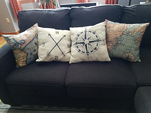 Wonder4 Geography Pillow Home Map Cases Covers Maps +1x Compass + 1x Navigation X 18 Home Bedding
