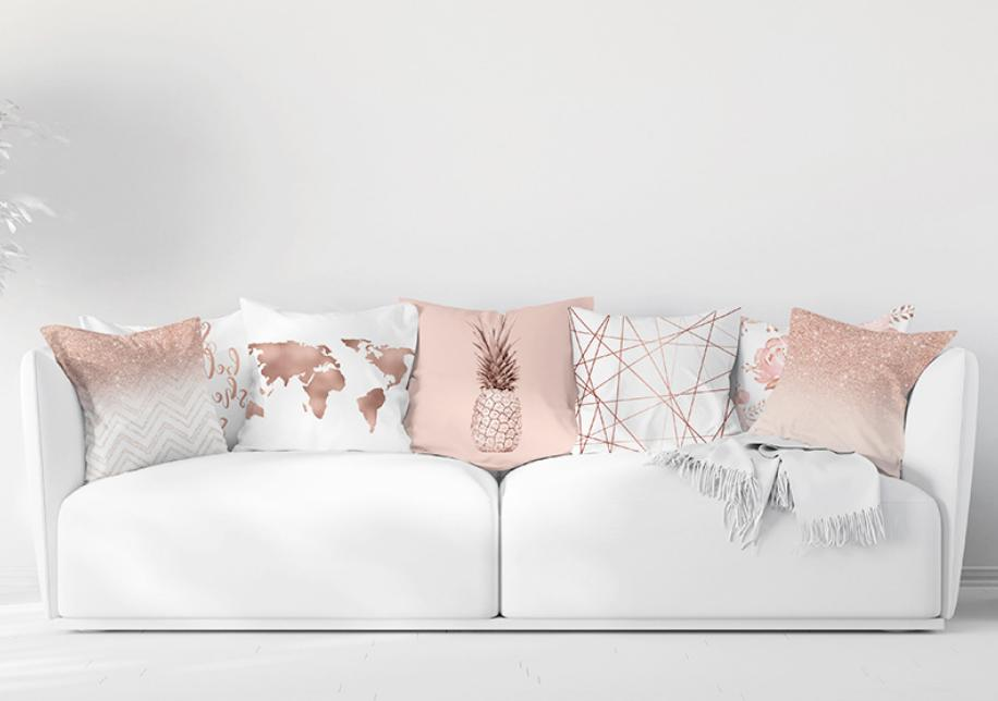 Pink Marble PILLOW COVER Double Sided Sofa Decorative Cushion