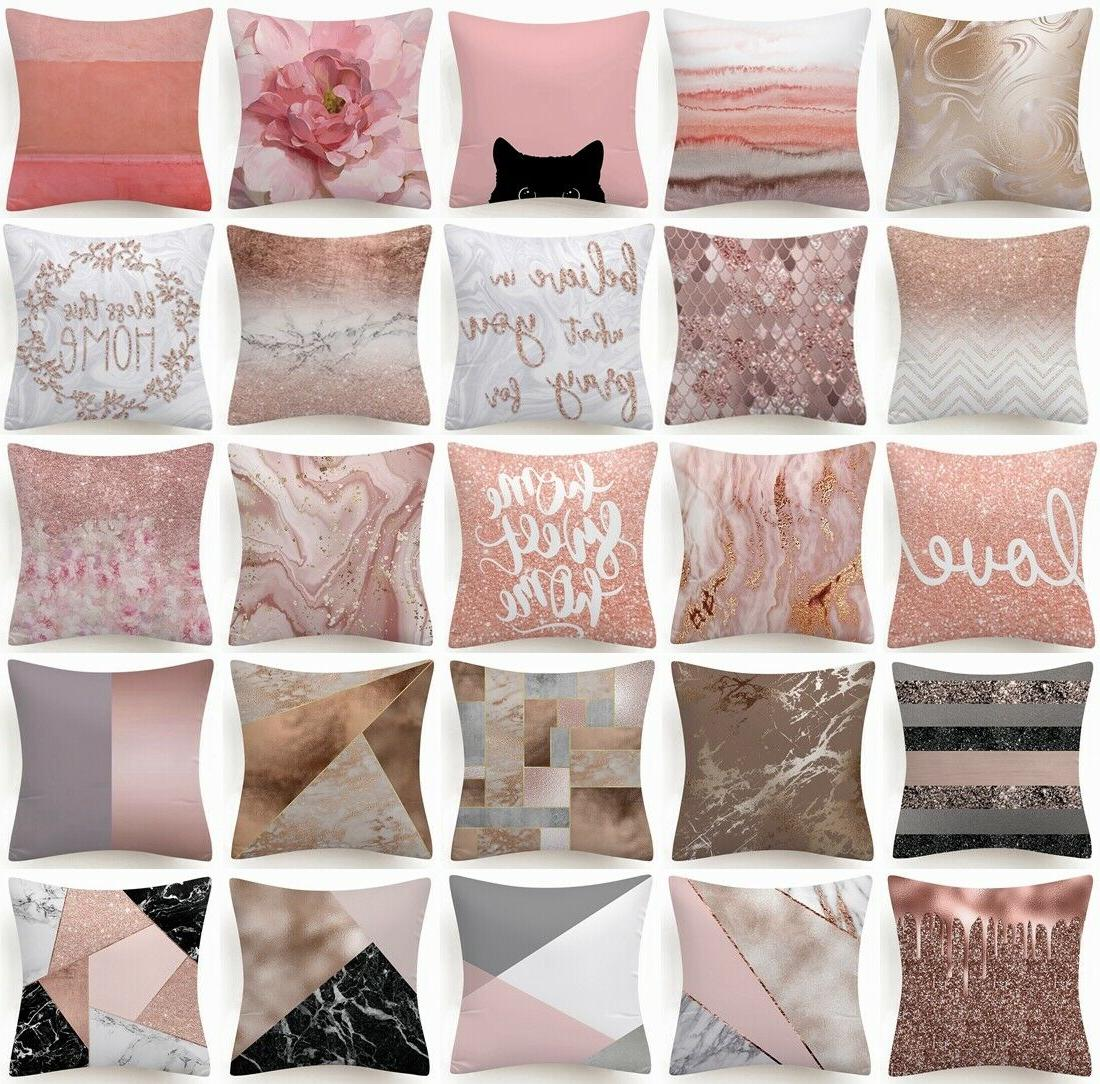 golden pink marble pillow cover double sided