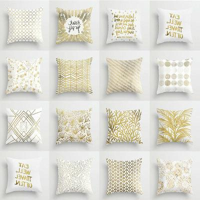 Golden Tone Pattern Printing Pillow Case Throw Cushion Cover