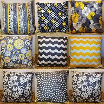 Gray and Yellow Designer Fabric Pillow Cases/Covers 100% Cot