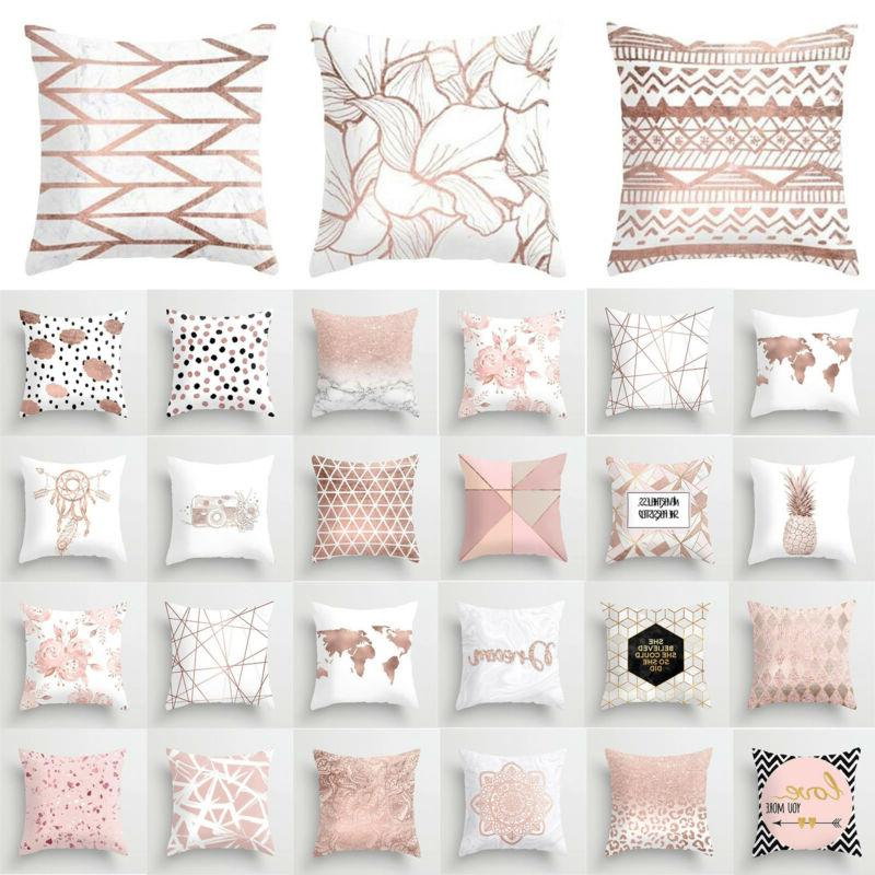 pink rose gold square pillow case geometric